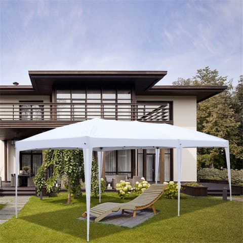 3 x 6m Four Windows Practical Waterproof Folding Tent White