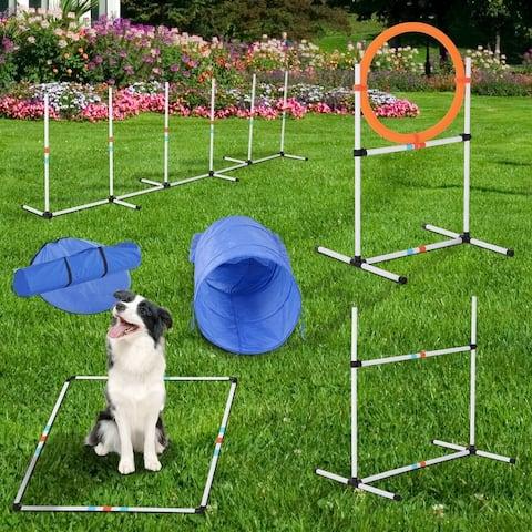 Pawhut 5-piece Outdoor Dog Agility Training Equipment Set