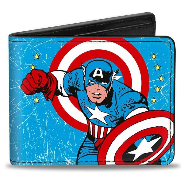 Marvel Comics Captain America Action Pose + Captain America Weathered Blue Bi-Fold Wallet - One Size Fits most
