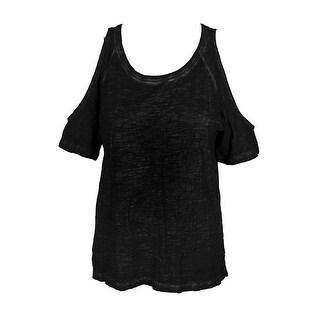 Sanctuary Black Short-Sleeve Heather Cold-Shoulder T-Shirt XS