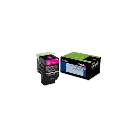 Lexmark 70C10M0 Lexmark 701M Magenta Return Program Toner Cartridge - Magenta - Laser - 1000 Page - 1 Each