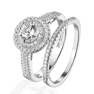 Wedding Engagement Ring Band 925 Silver Simulated Diamond 2PC Solitaire Ladies