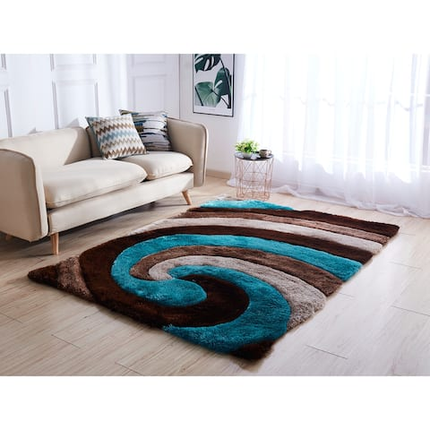 Mateos Shag Collection Swirl Area Rug