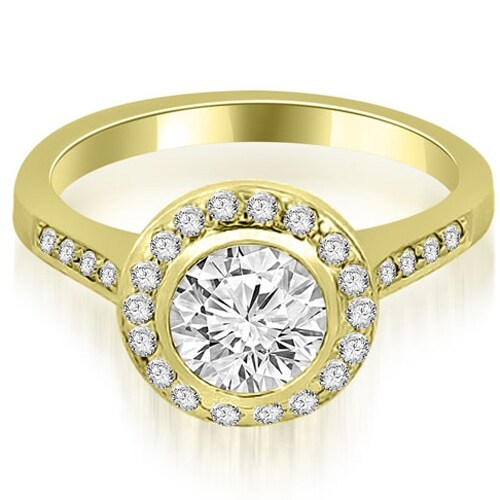 0.85 cttw. 14K Yellow Gold Bezel Center Round Cut Diamond Engagement Ring