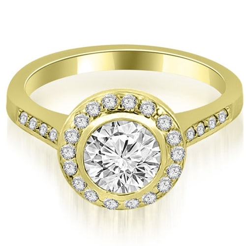 1.10 cttw. 14K Yellow Gold Bezel Center Round Cut Diamond Engagement Ring