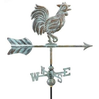 "21"" Handcrafted Blue Verde Copper Proud Rooster Outdoor Weathervane with Roof Mount"