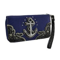 Nautical Anchor Rhinestone Studded Wallet with Removable Wrist Strap