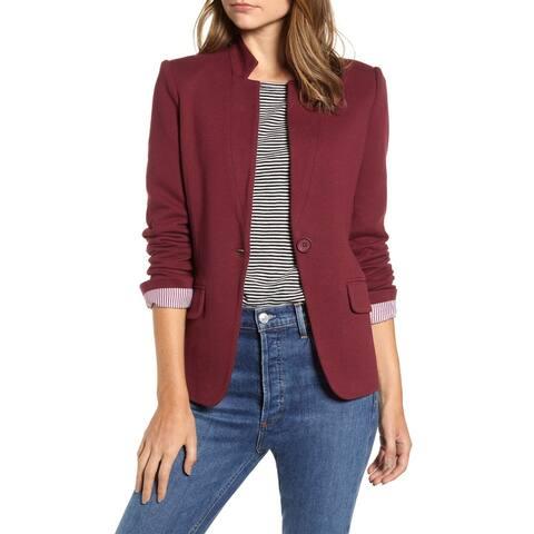 Gibson Womens Blazer Red Size XXS Notch Collar Single-Button Ponte Knit