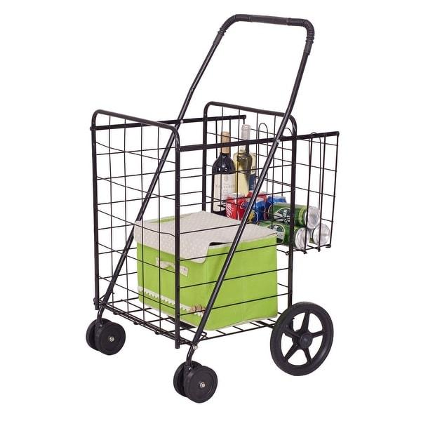 e63630009f921 Costway Folding Shopping Cart Jumbo Basket Grocery Laundry Travel w/ Swivel  Wheels - as pic