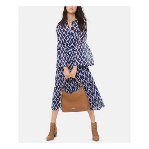 MICHAEL KORS Purple Bell Sleeve Tea-Length Shirt Dress Dress Size 2