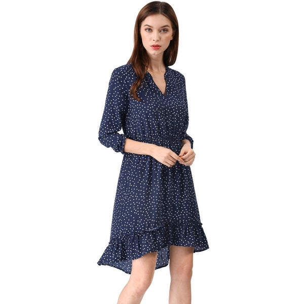 Women's V Neck Polka Dots Ruffle High Low Dress. Opens flyout.