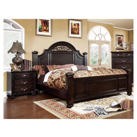Furniture of America Vame Traditional Walnut 2-piece Bedroom Set