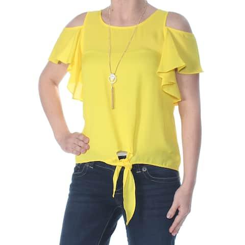 bbc8f2b7 BCX Womens Yellow Ruffled Cold Shoulder Tie Waist Jewel Neck Top Size: 2XS