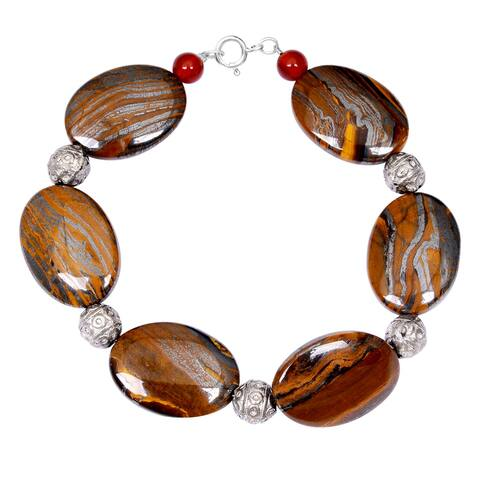 Tiger Eye, Carnelian Sterling Silver Beaded Bracelet by Orchid Jewelry
