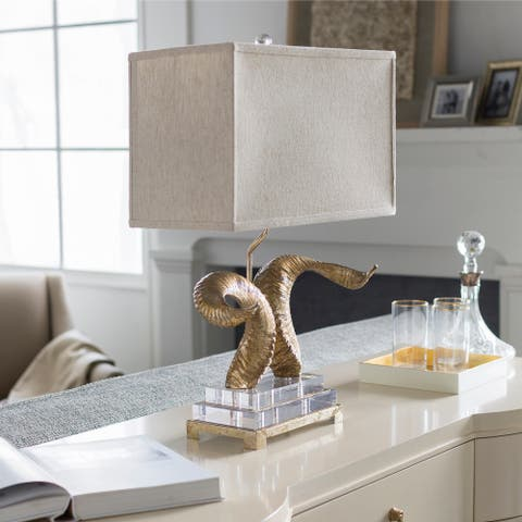 Marquax Gilded Horn and Crystal 25.5-inch Table Lamp