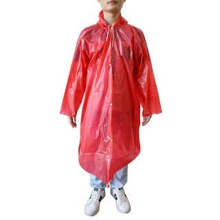 Red One Size Adult Disposable Waterproof Hooded Raincoat Rain Poncho for Travel