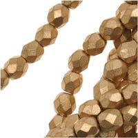 Czech Fire Polished Glass Beads 4mm Round Matte Metallic Gold (50)