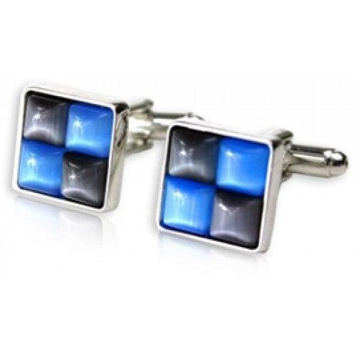Gray and Blue Catseye Cufflinks