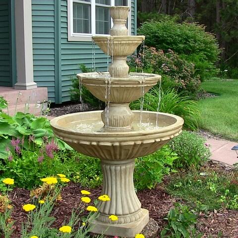 Sunnydaze Classic 3-Tier 55-Inch Designer Outdoor Water Fountain - Light Brown