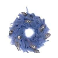"12"" Regal Peacock Embellished Blue Feather Artificial Christmas Wreath - Unlit - GOLD"