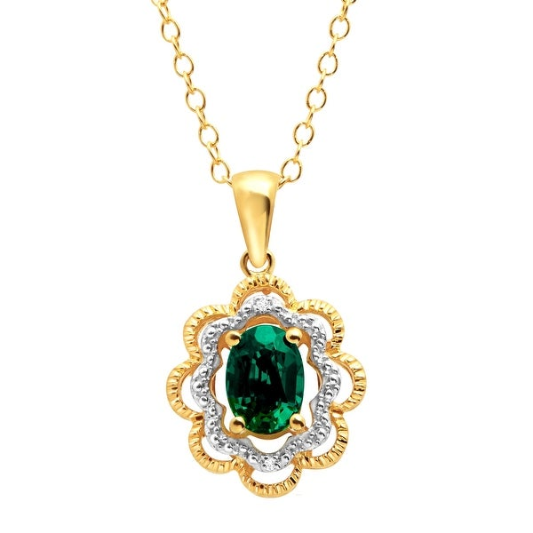 3/4 ct Created Emerald Pendant with Diamonds in 14K Gold over Sterling Silver
