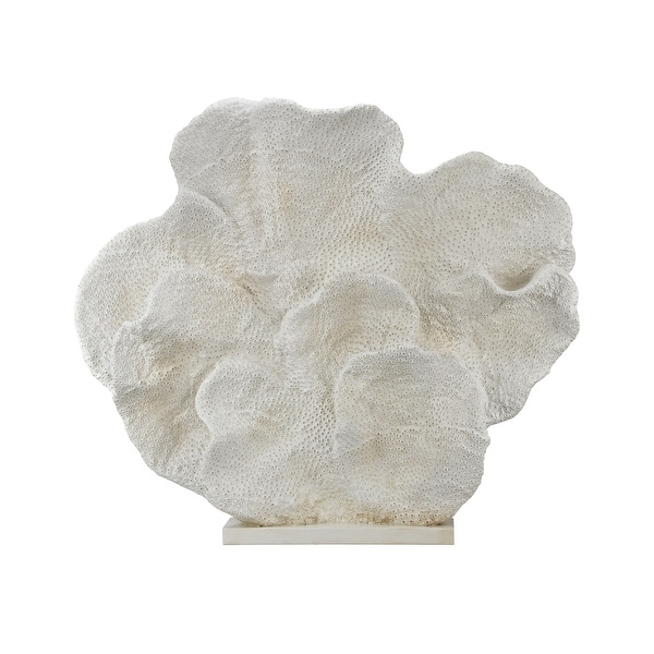 """37"""" White Handcrafted Cretaceous Fossil Sculpture Tabletop Accessory - N/A"""
