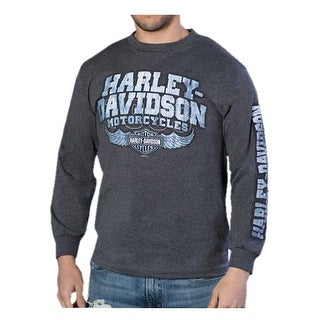 Harley-Davidson Men's Glorious Crew-Neck Long Sleeve Shirt - Dark Heather Gray