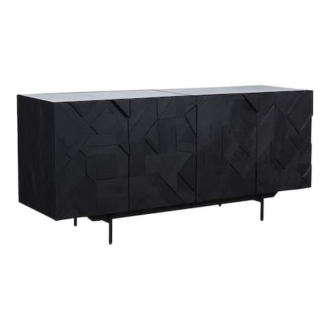 Aurelle Home Modern Black Mango Wood and Marble Sideboard