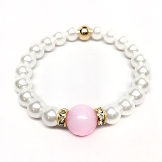 """Pearl & Pink Jade Joy 7"""" Bracelet"""