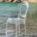 2xhome - Set of Two (2) - Clear - Belle Plastic Art deco Accent Chair Clear Side Chair Arm less - Thumbnail 3