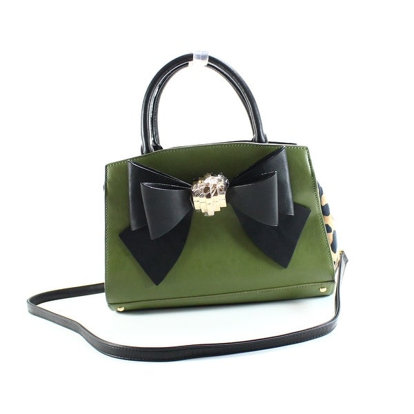 Betsey Johnson Green Black Leopard Removable Bow Satchel Handbag