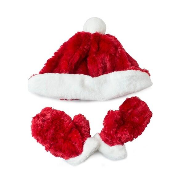 Fuzzy Wear Santa Hat & Mitten Set, Red, 12-18 Months