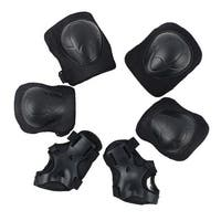 6 in 1 Set Children Skating Knee Elbow Pad Knee Wrist Protector Black Guard