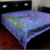 Handmade Cotton Tree of Life Tapestry Throw Tablecloth Spread Twin Purple 70x104 & Full 88x104