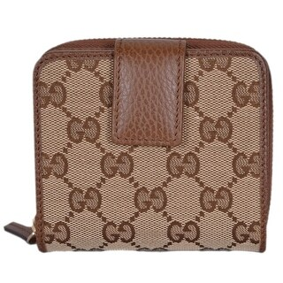"Gucci Women's 346056 Beige Brown GG Guccissima French Zip Around Wallet - 4""x4"""