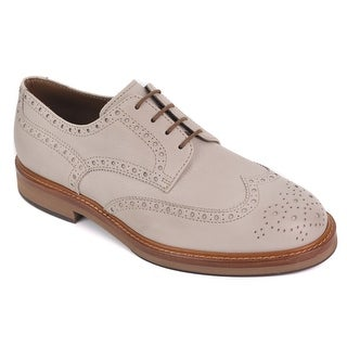 Brunello Cucinelli Grey Grained Leather Brogue Shoe