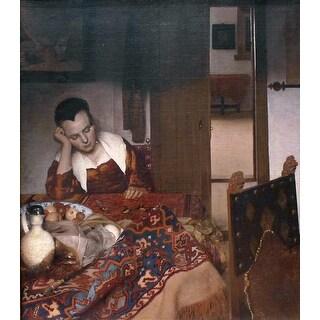 Easy Art Prints Johannes Vermeer's 'A Woman Asleep' Premium Canvas Art