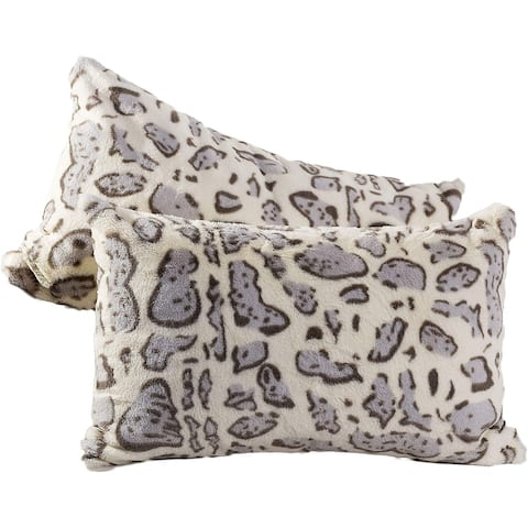 Cheer Collection Set of 2 Faux Fur Leopard Print Lumbar Couch Throw Pillows