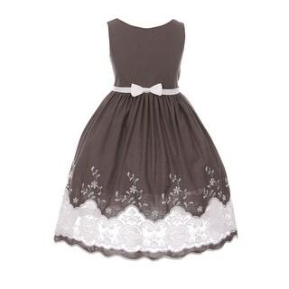 Kids Dream Little Girls Gray Cotton Sheer Embroidery Flower Girl Dress
