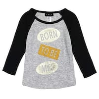 "Girls Gray Black ""Born To Be Me"" Text Print Long Sleeve Trendy Top"