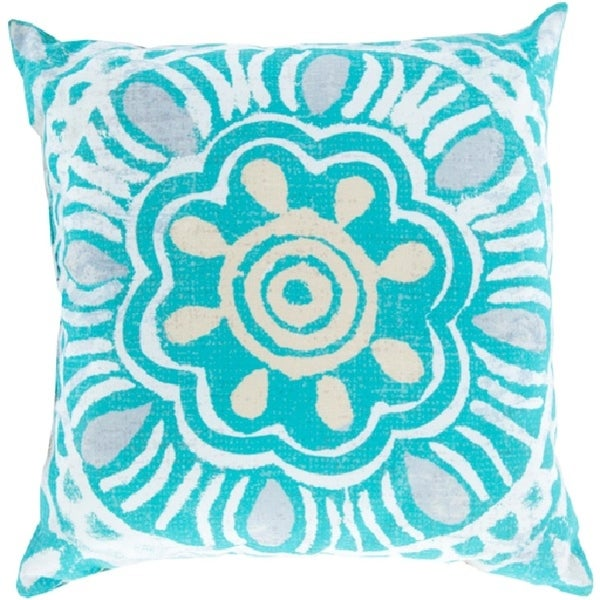 """26"""" Cheerful Beige and Blue Floral Indoor/Outdoor Decorative Throw Pillow"""