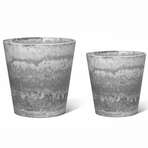 Higold - 12.6 + 10.6 Inch Resin Plant Pot, Round Pot, Indoor/Outdoor Using, Gift for Birthday, Housewarming, Set of 2