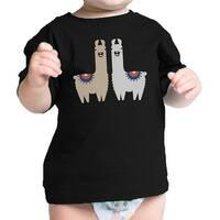 Llama Pattern Infant Gift Tee Shirt Black