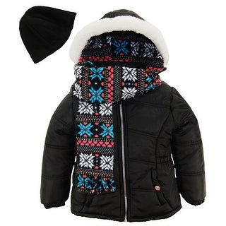Pink Platinum Toddler Girl Quilted Winter Puffer Jacket Snowflake Scarf and Hat