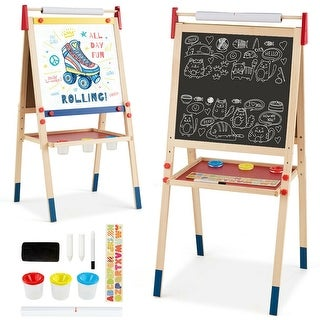 "All-in-One Wooden Height Adjustable Kid's Art Easel -  23.5"" x 21.5"" x 44""/46.5""/49"" (L x W x H)"