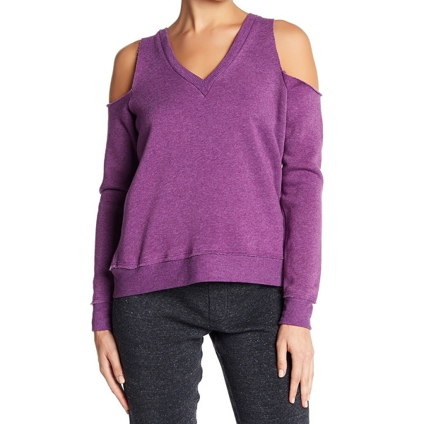 Alternative Purple Womens Size Small S V-Neck Cold Shoulder Sweater