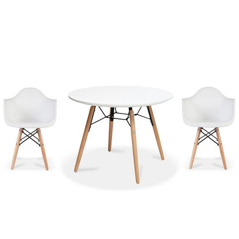 Modern Accent Kids Toddler Children Arm Chair and Round Table Combo with Eiffel Natural Wooden Legs for Dining Class Room