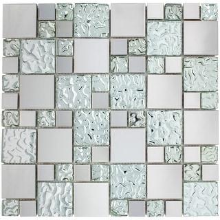 TileGen. Random Square Mixed Material Mosaic Tile in Cobble/Silver Wall Tile (10 sheets/9.6sqft.)