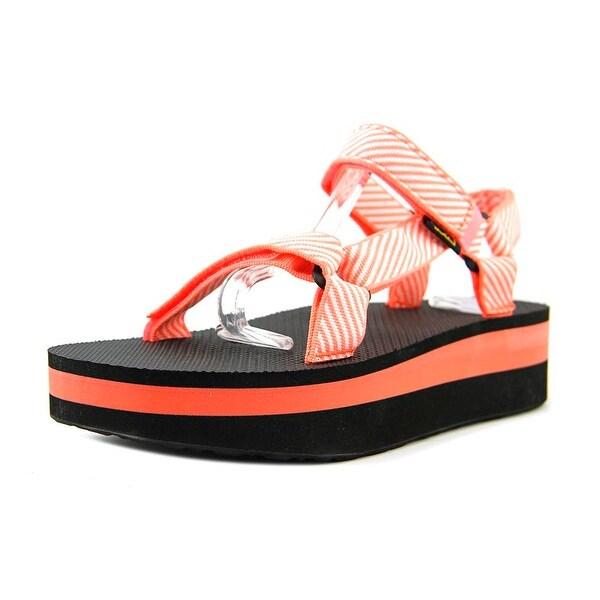 4fea2f79d6e5 Shop Teva Flatform Universal Candy Stripe Coral Sandals - Free ...