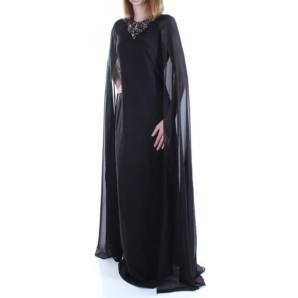 VINCE CAMUTO Womens Black Rhinestone W/cape Sleeveless Crew Neck Full Length Sheath Formal Dress Size: 10